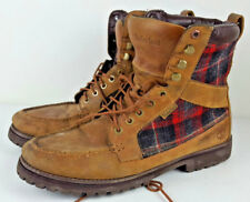 Timberland X Woolrich Red Plaid Brown Leather Boots Men's Size 12 72540 9198