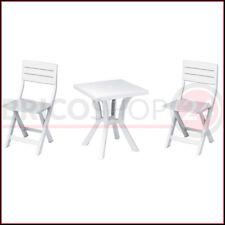 Set Tavolo e 2 Sedie Pieghevoli in Resina da Esterno Giardino Balcone Plastica
