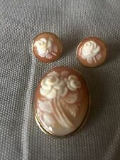 Shell Cameo Pin/Pendant And Earrings Set 14K Yellow Gold