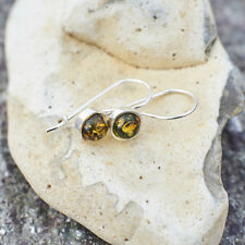 Natural Baltic Amber Classic Earrings Green Yellow Handmade Hooks Perfect Gift