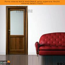 Porta interna NOCE NAZIONALE vetro superiore 70x210 esterno telaio 77x213
