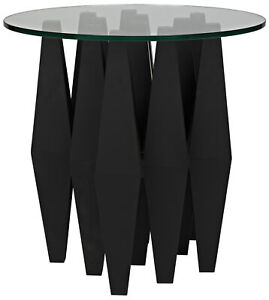 "set of 2 side tables 24"" H Matteo Black Geometric Diamond Metal Legs glass top"