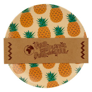 Eco-Friendly Bamboo Plate Pineapple Design Reusable Picnic Party Sustainable BBQ
