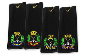 Best Impressions Black Tri-Fold Golf Towel with Embroidered Crest