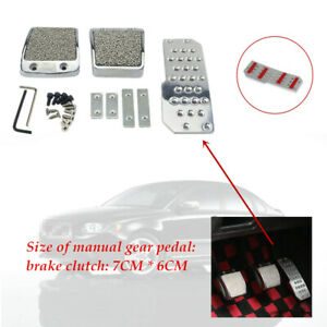 Aluminum Alloy Silver Car Pedals Pad Clutch Brake Non-Slip Manual Footst Cover