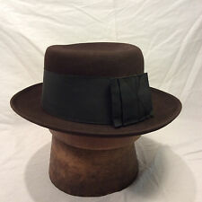 Chocolate Brown Mallory Flat Top Pork Pie Men's Hat with Black Band