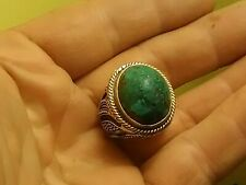 Vintage Large Sterling & Gold Over Turquoise w/ Ornate Cut Out Band Ring Sz. 7.