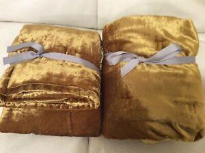 West Elm Two (2) Lush Velvet Tack Stitch Standard Shams Golden Oaks NEW