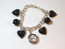 "Vintage Rumors Watch Silver Chain Sputnik Bead Heart Charm 8"" Bracelet  1d 64"
