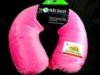 World's Best Cushion-Soft Microfiber Neck Pillow, California Flag Pink travel