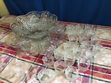 STUNNING 23 Pc Set LE Smith Punch Bowl Underplate 21 Cups GALAXY Stars Pinwheels