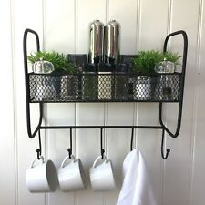 Vintage Style Metal Wall Shelf Unit Kitchen Towel Hook Storage Basket Spice Rack