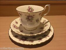 Sweet Violets ROYAL ALBERT England TRIO CUP SAUCER & PLATE #2 Purple flower 1966