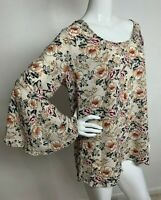 Women's New Plus 2XL White Multi Color Floral Top Tunic Boho Blouse Shirt NWT