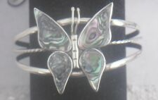 Bracelet Cuff Butterfly Abalone Shell new bendable large