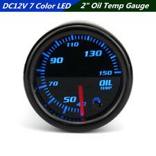 """Universal DC12V Car SUV 7 Color LED 2"""" 52mm Oil Temperature Gauge 1/8 NPT Sensor"""