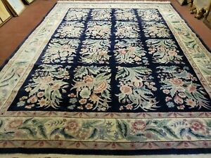 9' X 12' Hand Made Chinese Oriental Floral Garden Wool Rug 160 Lines Plush Pile
