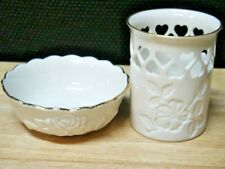 Set Of 2 Lenox Items Pierced Heart Candle Holder (New) Bowl W/Roses Exc
