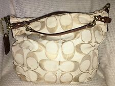 COACH Signature Jacquard Large BROOKE Convertible Hobo Handbag Purse Bag-14818