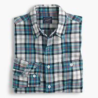 New J Crew Midweight Flannel Shirt Plaid Button Up Blue Yellow Red White NWT