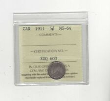 1911 , ICCS Graded Canadian,  5 Cent, **MS-64**