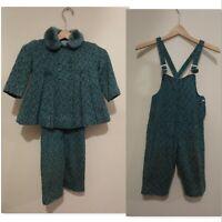 Vintage Overall fur collar jacket set girls 1960's tweed bibs swing coat