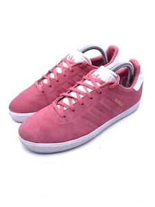 Adidas Gazelle Embossed Suede Trainers Pink White Uk 5.5