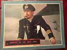"""Pursuit Of The Graf Spee 1956 Rank 11x14"""" war lobby card Peter Finch battleship"""