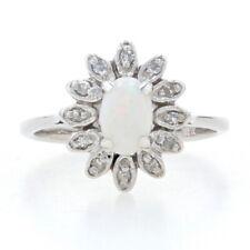 White Gold Opal & Diamond Flower Halo Ring - 14k Oval Cut .38ctw Blossom