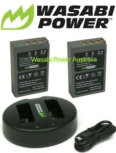 Wasabi Power Battery (2-Pack) and Dual Slot USB Charger for Olympus BLS-5,BLS-50