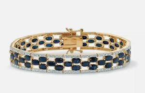 WOMENS 14K YELLOW GOLD PLATED MIDNIGHT BLUE SAPPHIRE AND DIAMOND ACCENT BRACELET