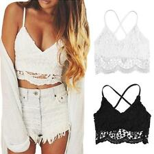 Sexy Women Crop Top Crochet Lace V Neck Backless Cami Bralette Beach Tank Y7A0
