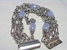 Diamonds 4 Strands Figaro Bracelet David Yurman Sterling Silver Chalcedony and