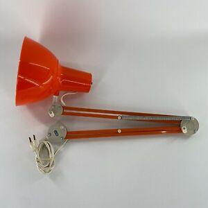 VTG Luxo Articulating Arm Architect Drafting Desk Lamp Orange Sweden MCM WORKS