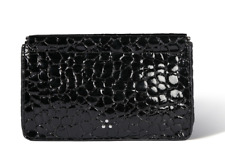 Jerome Dreyfuss Clic Clac Noir Croco Embossed Clutch Large NWT