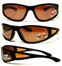 44c8519a66d8 POLARIZED Sunglasses NEW Baseball Fly Fishing Glasses Amber Lens Wrap  Around NEW