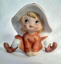 """Homco Vintage Sitting Elf Pixie Gnome Ceramic 4"""" 5213"""