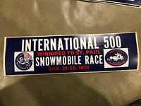 Vintage Bumper Sticker St Paul Winter Carnival 500 Snowmobile Race LeMans Rabbit