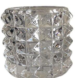 Yankee Candle Studded Clear Cut Glass Fractal Votive Tea Light Candle Holder