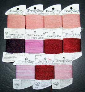 11x Needlepoint/Embroidery THREAD RG Frosty Rays nylon/metallic-pinks-XW56