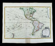 1785 ZANNONI - rare map AMERICA NORTH & SOUTH, UNITED STATES, USA, CANADA MEXICO