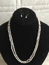 Authentic Freshwater Rice Pearl Drop Earrings + Rice Pearl Necklace Set Elegant