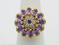 14k Yellow Gold YG Stunning Amethyst & Diamond Flower Carousel Ring Sz 7  F194
