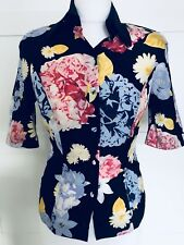 NEW FRED PERRY Silk Shirt Floral Satin Blouse 80's Style Retro Size 8 Rare