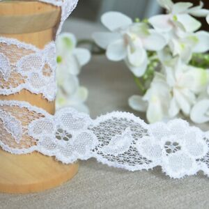 25mm Vintage Elasticated Stretch embroidered Lace Trim headband Shabby Chic