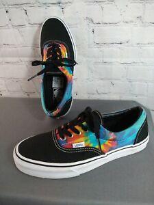 EUC unisex black/MULTI tie dye VANS lace up shoes - size MEN'S 8, WOMEN'S 9 1/2