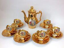 Vintage Czechoslavakian gold Coffee Set Fragonard Romantic Design