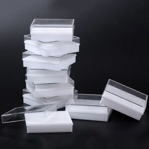 10pcs Jewellery Gift Boxes White Pads Clear Plastic Bracelet Necklace Earrings