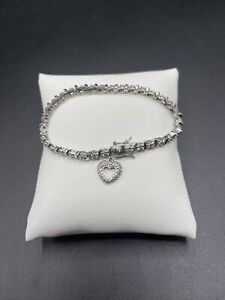 925 Sterling Silver Tennis Bracelet With A Heart Accent Charm  #955
