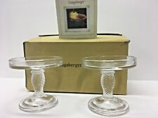 Set Of 2 Longaberger Glass Pedestal Candle Stands 71338 - New In Box